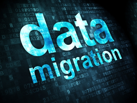 Information concept: pixelated words Data Migration on digital background, 3d render photo