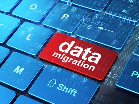 migrating: Data concept: computer keyboard with word Data Migration on enter button background, 3d render Stock Photo