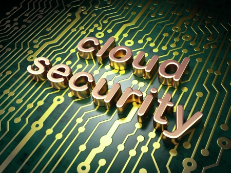 Cloud technology concept: circuit board with word Cloud Security, 3d render photo