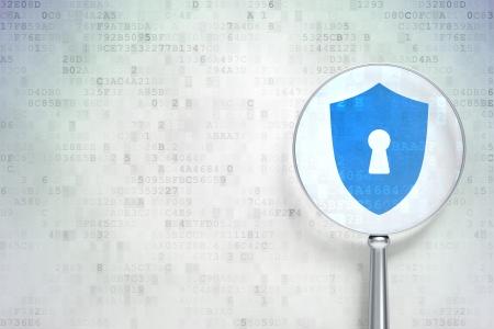 Concepto de protección de Educación: lupa óptica con Blindaje Con Keyhole icono de fondo digital, copyspace vacío para la tarjeta, texto, publicidad, 3d Foto de archivo - 21345122
