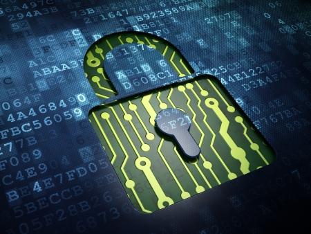 Concepto de privacidad: la pantalla digital con el icono de candado cerrado, 3d Foto de archivo - 21345131