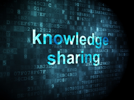 Education concept: pixelated words Knowledge Sharing on digital background, 3d render photo