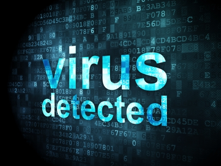 Protection concept: pixelated words Virus Detected on digital background, 3d render Stock Photo - 21444112