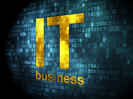 Business concept: pixelated words IT Business on digital background, 3d render photo