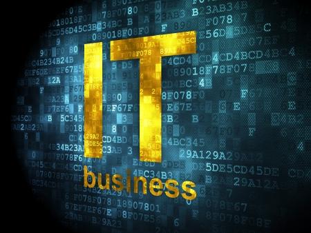 Concepto de negocio: las palabras pixelados de TI de negocios en el fondo digital, 3d