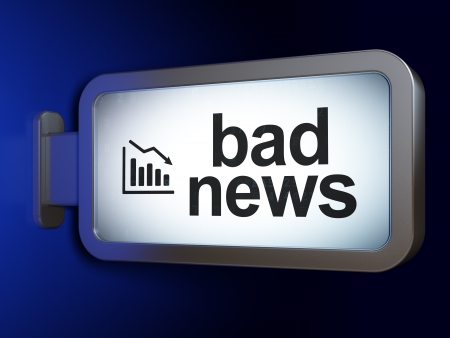 News concept: Bad News and Decline Graph on advertising billboard background, 3d render photo