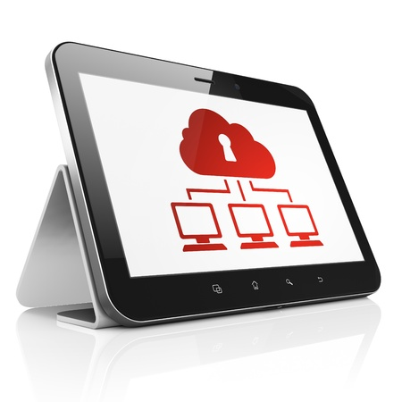 Privacy concept: black tablet pc computer with Cloud Network icon on display. Modern portable touch pad on White background, 3d render photo