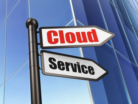 Cloud computing concept: Cloud Service on Building background, 3d render photo
