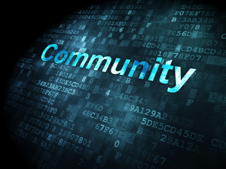 Social media concept: pixelated words Community on digital background, 3d render photo