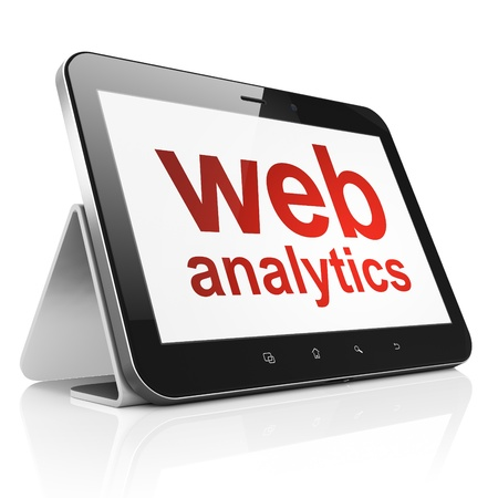 Web development concept: black tablet pc computer with text Web Analytics on display. Modern touch pad device on White background, 3d render photo