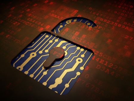 Data concept: digital screen with icon Opened Padlock, 3d render photo