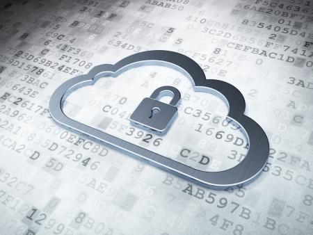 Cloud computing concept: Silver Cloud Met Hangslot op digitale achtergrond, 3d render Stockfoto