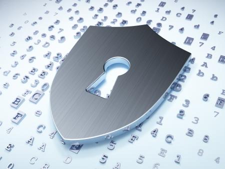 Concepto de privacidad: Escudo de plata con ojo de cerradura sobre fondo digital, 3d