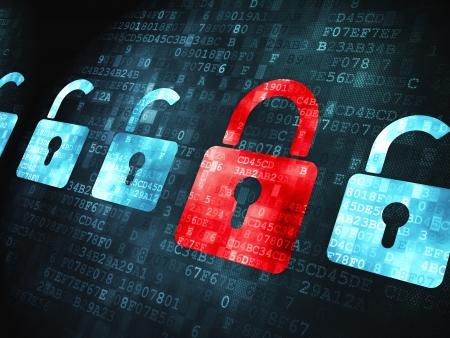 proteccion: Concepto de seguridad: pixelada icono Bloqueos en el fondo digital, 3d Foto de archivo