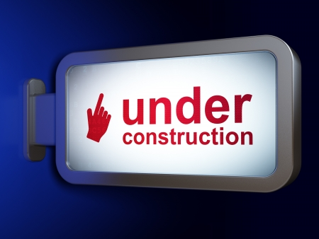 Web design concept: Under Construction and Mouse Cursor on advertising billboard background, 3d render photo