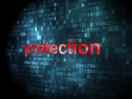 защита: Концепция безопасности: неровной слова защиты на цифровой фон, 3d визуализации