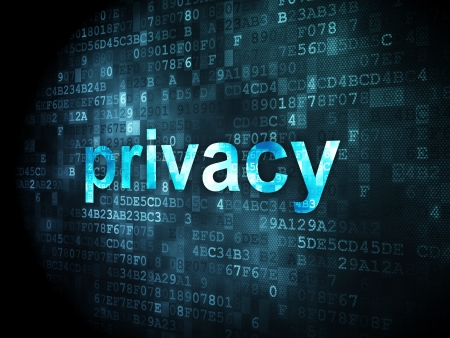 online privacy: Security concept: pixelated words Privacy on digital background, 3d render Stock Photo