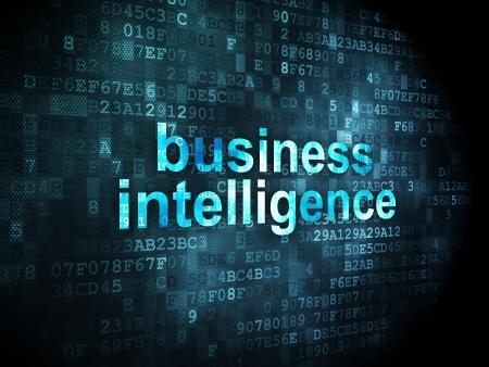 finance background: Business concept: pixelated words Business Intelligence on digital background, 3d render