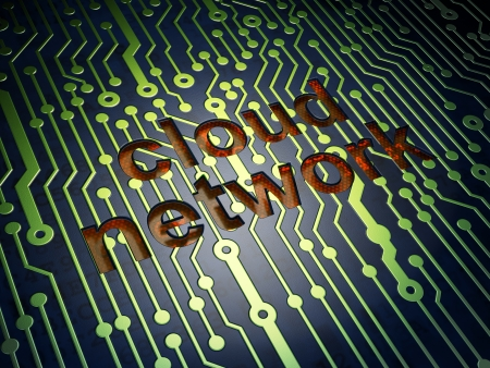Cloud networking concept: circuit board with word Cloud Network, 3d render photo