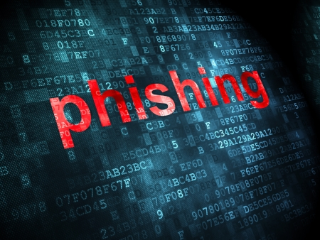 phishing: Safety concept: pixelated words Phishing on digital background, 3d render Stock Photo