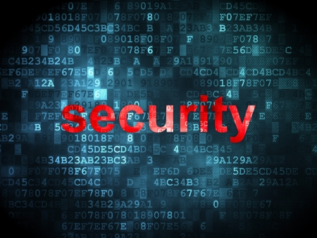 Protection concept: pixelated words Security on digital background, 3d render Stock Photo - 21514750