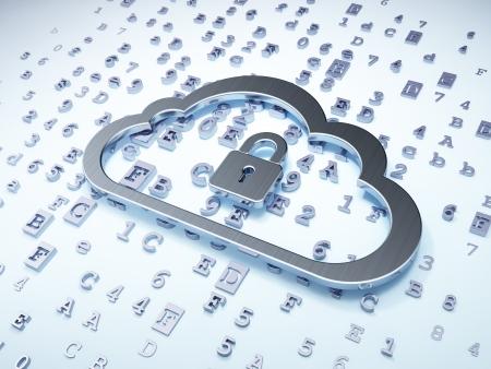 Cloud networking concept: Silver Cloud met hangslot op digitale achtergrond, 3d render Stockfoto