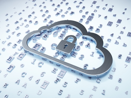 Cloud networking concept: Silver Cloud With Padlock on digital background, 3d render photo