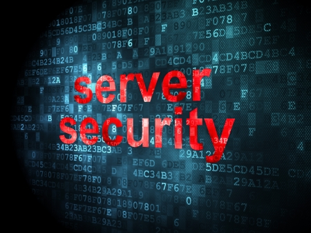 Protection concept: pixelated words Server Security on digital background, 3d render photo