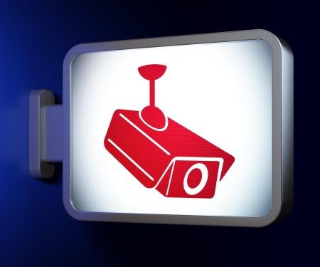 Security concept: Cctv Camera on advertising billboard background, 3d render photo