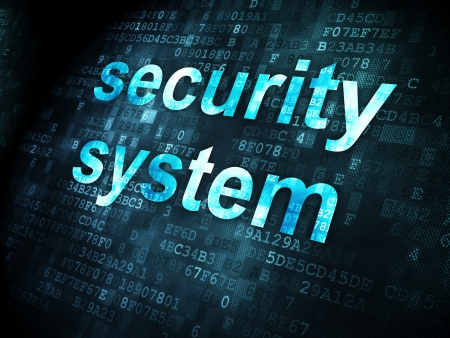 Safety concept: pixelated words Security System on digital background, 3d render Stock Photo - 21514822