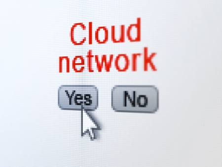 Networking concept: buttons yes and no with pixelated word Cloud Network and Arrow cursor on digital computer screen, selected focus 3d render photo