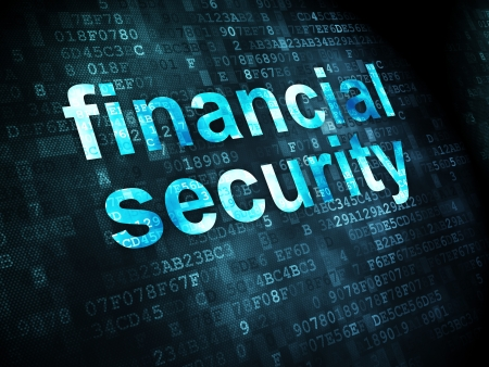 Protection concept: pixelated words Financial Security on digital background, 3d render Stock Photo - 21514854