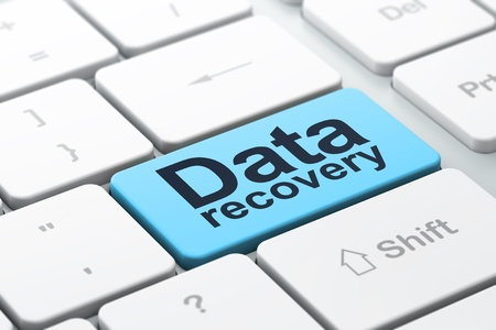 data recovery: Information concept: computer keyboard with word Data Recovery, selected focus on enter button background, 3d render Stock Photo