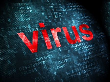 Security concept: pixelated words Virus on digital background, 3d render Stock Photo - 21514867
