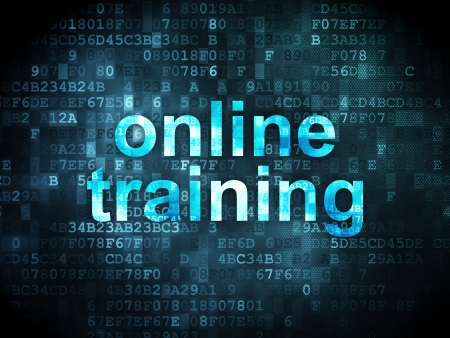 computer training: Education concept: pixelated words Online Training on digital background, 3d render