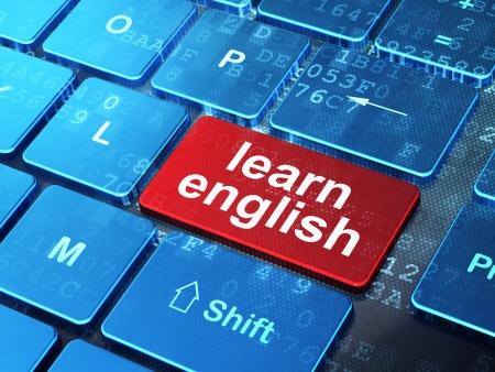 教育の概念: コンピューターのキーボードの単語で英語を学ぶに入力しますボタンの背景、3 d のレンダリング。