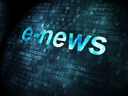 breaking news: News concept: pixelated words E-news on digital background, 3d render Stock Photo