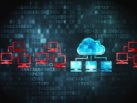 Cloud Computing-Konzept: pixelig Cloud-Technologie-Symbol auf digitale Hintergrund, 3d render Lizenzfreie Bilder