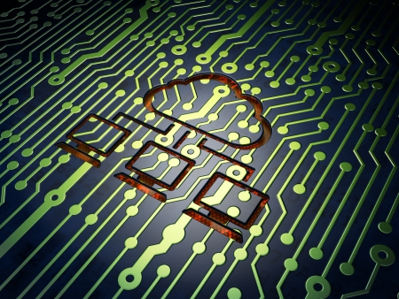 Cloud technology concept: circuit board with Cloud Network icon, 3d render Stock Photo - 21515155