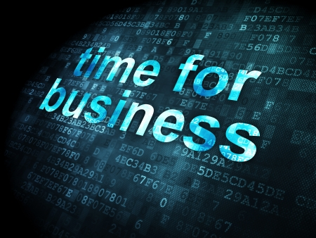 Timeline concept: pixelated words Time for Business on digital background, 3d render photo