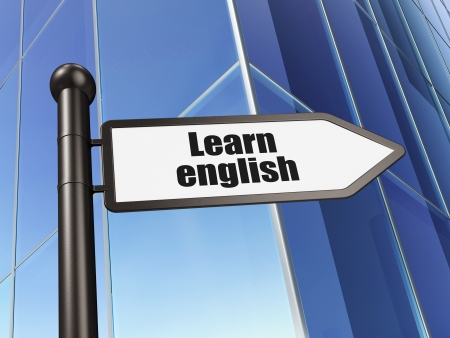 studing: Education concept: Learn English on Building background, 3d render Stock Photo