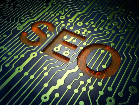 SEO web design concept: circuit board with word SEO, 3d render