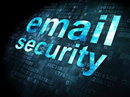 보안 개념 : pixelated 단어 전자 메일 보안 디지털 배경, 3d 렌더링
