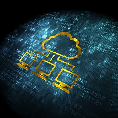 Cloud computing concept: pixelated Cloud Network icon on digital background, 3d render Stock Photo - 21515259