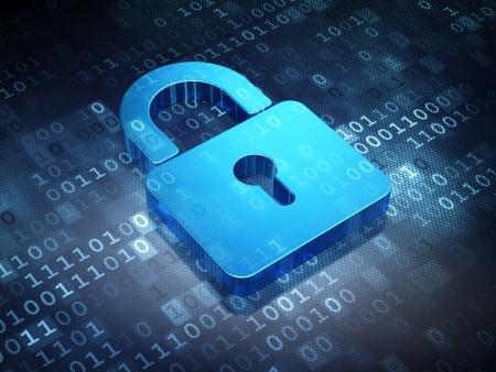 Concept de sécurité: cadenas fermé bleu sur fond numérique, rendu 3d