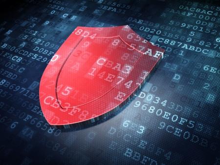 Concepto de protección: Escudo Rojo en el fondo digital, 3d Foto de archivo - 21515278