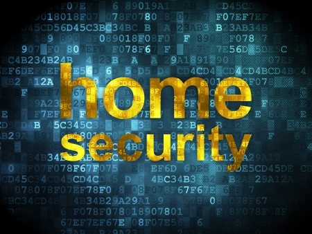 Safety concept: pixelated words Home Security on digital background, 3d render photo
