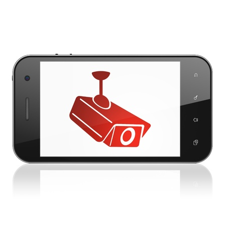 Protection concept: smartphone with Cctv Camera icon on display. Mobile smart phone on White background, cell phone 3d render photo