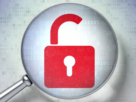 Protection concept: magnifying optical glass with Opened Padlock icon on digital background, 3d render Stock Photo - 21780475