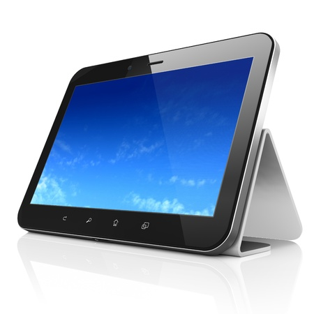 Black tablet pc computer with Pixelated Sky on display. Modern portable touch pad on Stand On White background, 3d render photo